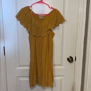 Mustard off the shoulder dress